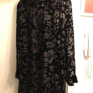 robin Tops - Elegant velvet blouse w/satin ribbon/ knee length